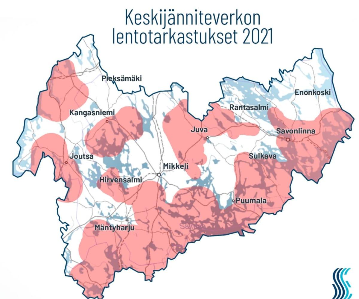 Järvi-Suomen Energian tarkastuskartta.
