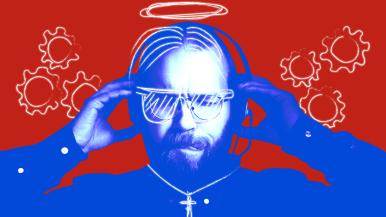 Sini-punainen kuva esseen toimittajasta Pietari Kylmälästä