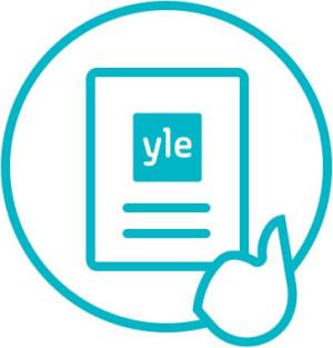 Symbolikuvasta sormesta ja lomakkeesta missä Yle-logo.