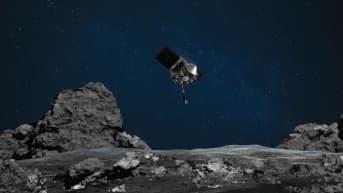 Taiteilijan näkemys avaruusalus Osiris-Rexin laskeutumisesta Bennu-planeetalle.