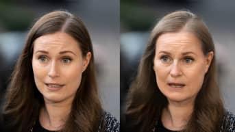 Ystävällisen oloinen pääministeri Sanna Marin (sd.) oli helppo muuttaa ärtyneeksi vanhaksi naiseksi Photoshopin uudella versiolla.