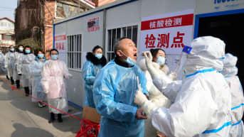 Koronavirustestausta Hebein provinssissa Kiinassa.
