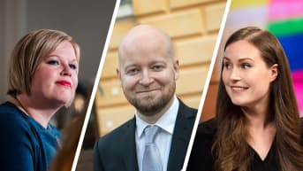 Kuvakombo jossa on Annika Saarikko, Jussi Saramo ja  Sanna Marin.