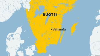 Vetlanda Ruotsin kartalla