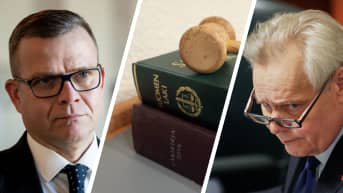 Petteri Orpo ja Antti Rinne. Välissä lakikirja ja nuija.
