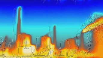 Lämpökamerakuva hiilivoimalasta.