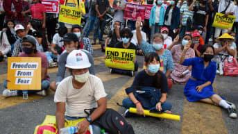 Mielenosoittajia istuu maassa