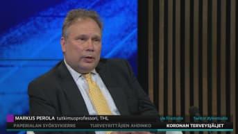 THL:n tutkimusprofessori Markus Perola kertoi A-studiossa koronan pitkäaikaisista oireista.