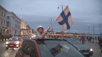 Suomen voittoa Tanskasta juhlittiin riehakkaasti