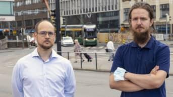 Raitiovaununkuljettajat Robert Vierling ja Tommi Salo
