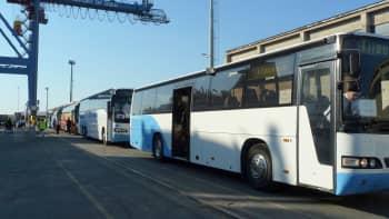 Busseja jonossa Oulun satamassa