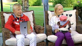 Viidesluokkalaiset Eetu Jaatinen ja Aino Raula Aamu-tv:n vieraina.
