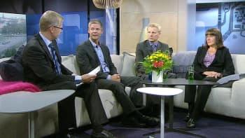Kansanedustajat Sampsa Kataja, Kimmo Tiilikainen ja Pirkko Ruohonen-Lerner Ylen Aamu-tv:n vieraina.