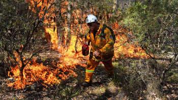 Palomies sammutti maastopaloa Australian Blue Mountainsin alueella 21. lokakuuta.