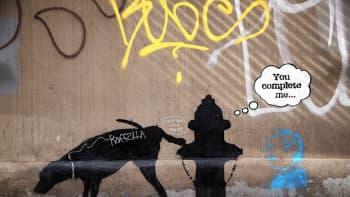 Katu- ja graffiti-taiteilija Banksyn yksi uusimmista teoksista New Yorkissa.