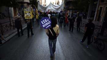 Mielenosoitus Ateenassa.