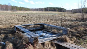 Heinäjoen alkuperäsen luontoreitin huilauspaikka, Taustalla näkyy uusi ponttonisilta.