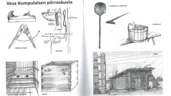 Vesa Kumpulaisen taitavat piirrokset Elämäjärvi -kirjassa kertovat millaisilla välineillä ennen elettiin ja työskenneltiin maaseudulla.