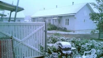 Lumen peittämä maa Nivalassa.