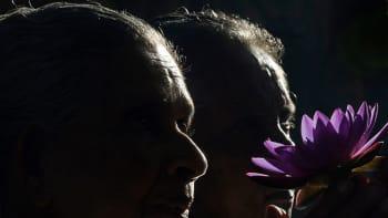 Vanhempi pariskunta ja kukka
