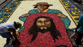 Lima, Peru, kukista tehty matto.