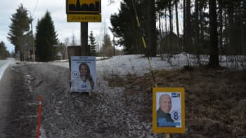 Perussuomalaisten Marjaana Mikkosen ja Jani Kolehmaisen vaalimainokset Juankosken kyltin alla.