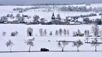 Tuore lumi peitti Thüringenin aluetta