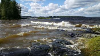 Myrskytuulta Näsijärven Kämmenniemessä lauantaina iltapäivällä.