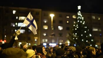 Suomen lippu ja joulukuusi.