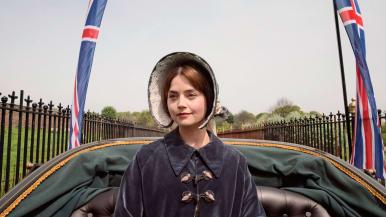 Kuningatar Victoria hevoskärryjen kyydissä.