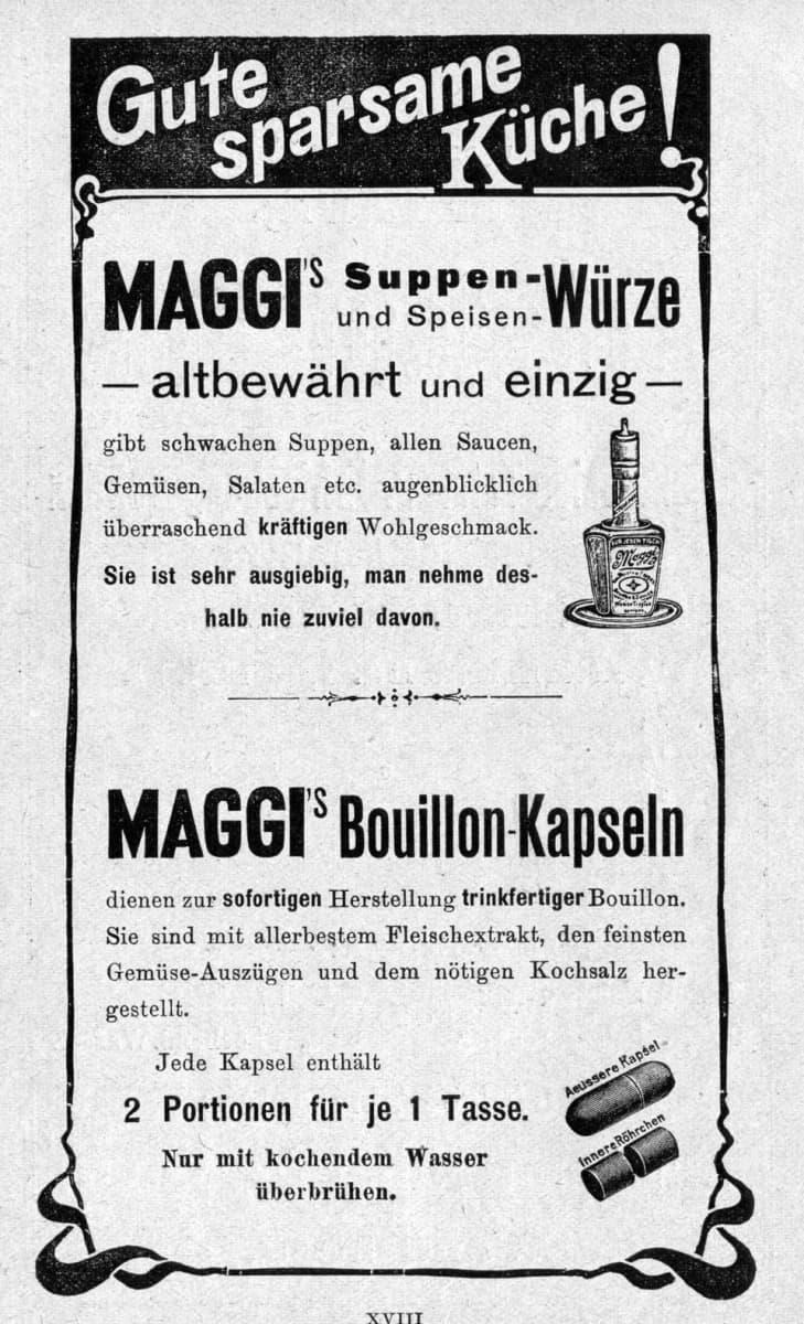 Maggi-yhtiön mainos vuodelta 1903.
