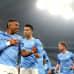 Gabriel Jesus City-pelaajien juhlittavana