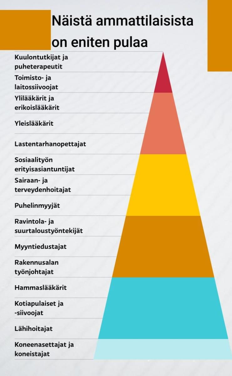Pyramidin huipun ammateissa on eniten työvoimapulaa.