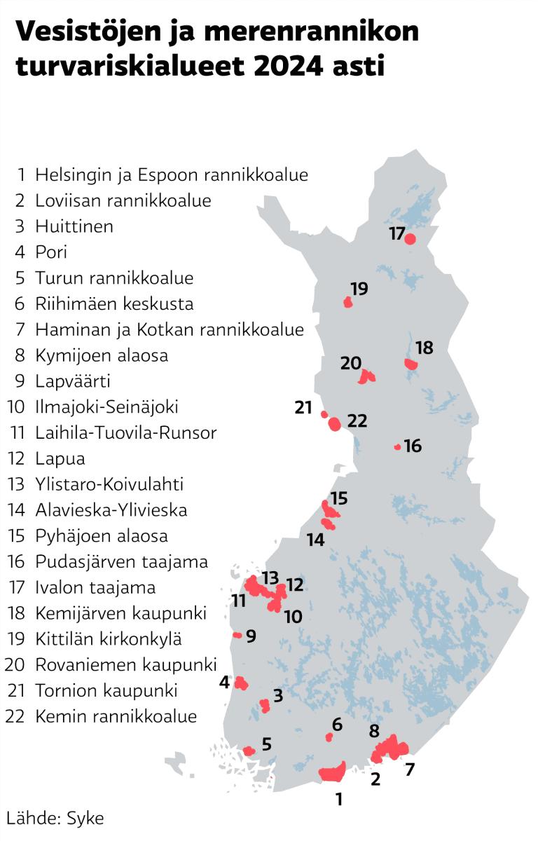 Vesistöjen ja rannikon tulvariskialueet -kartta.