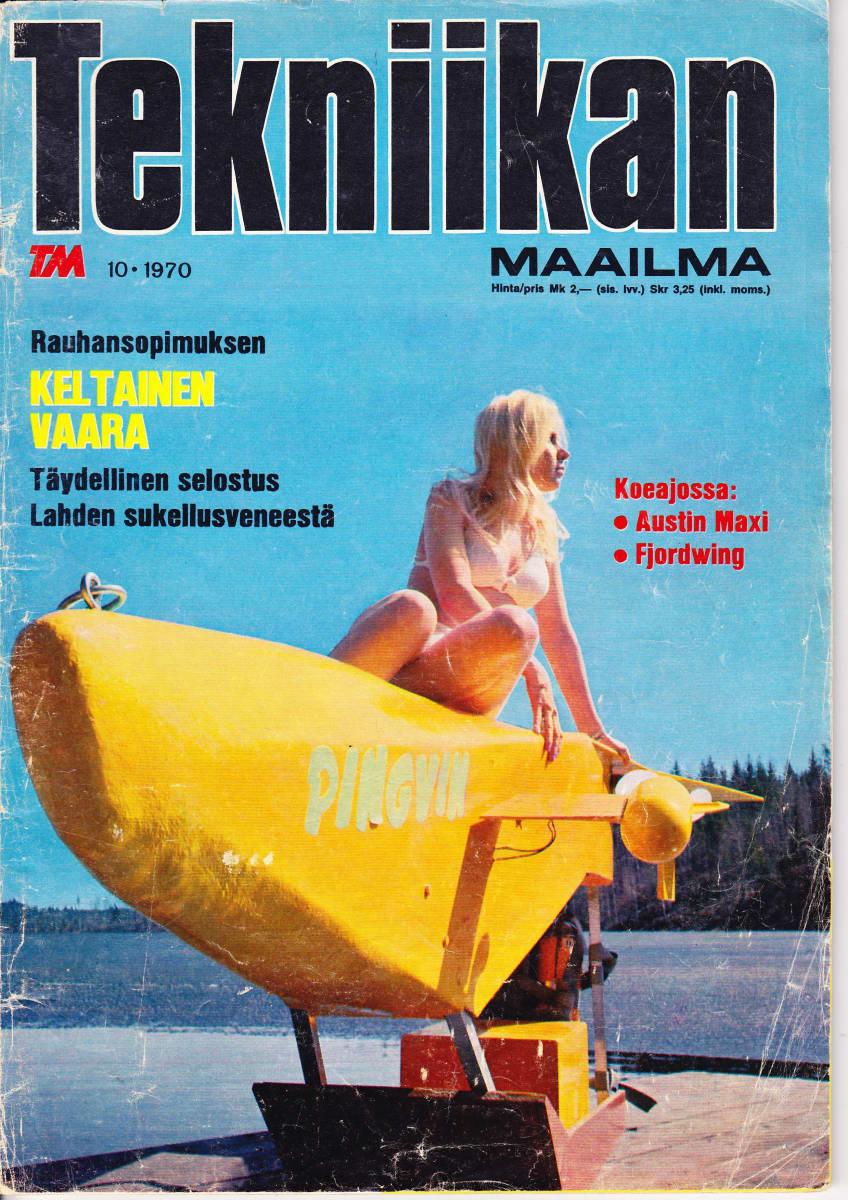 Tekniikan Maailma -lehden 10/1970 kansikuva, jossa Pingvin-sukellusvene.