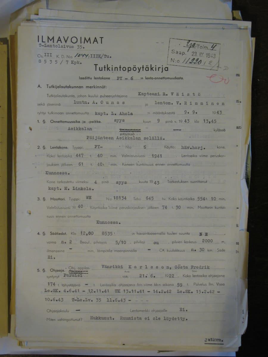 Ilmavoimien vanha tutkintapöytäkirja Pyry PY-6:n onnettomuudesta.