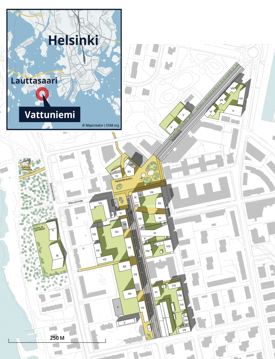 Havainnekuva Vattuniemen keskuksesta, Helsinki