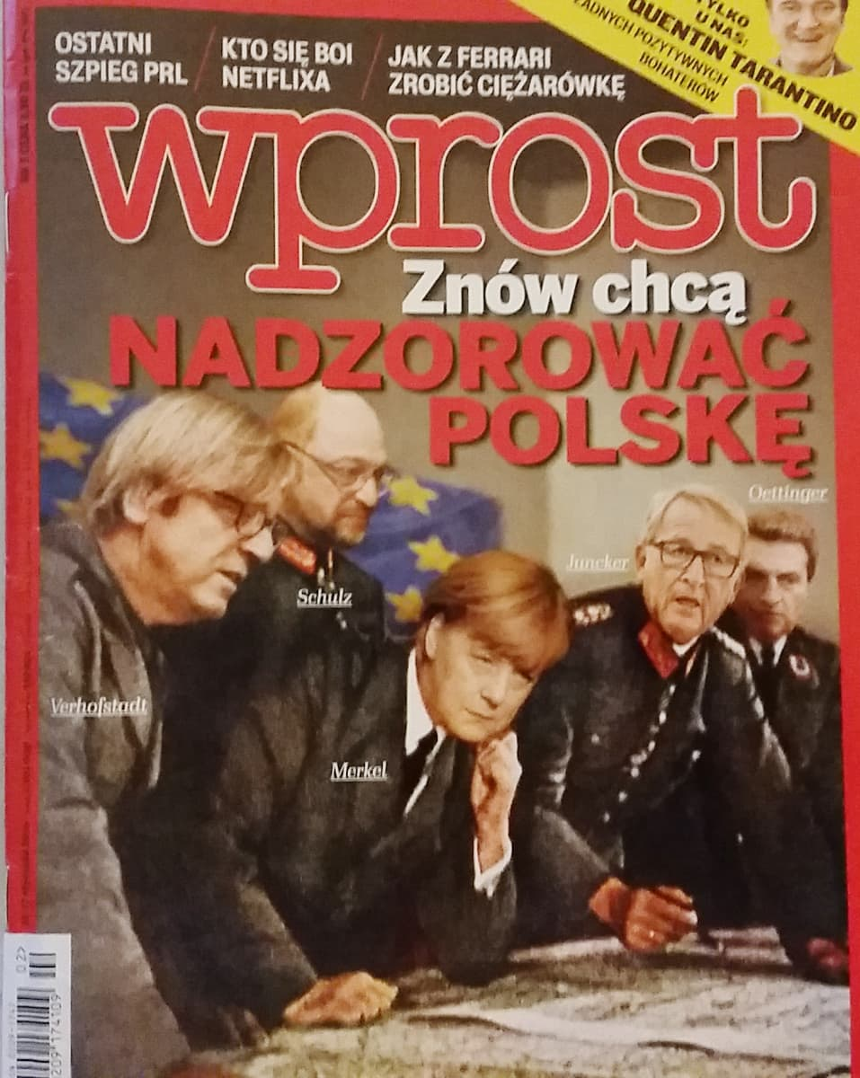 """""""Taas he haluavat kontrolloida Puolaa"""" Laki ja oikeus-puolueen lähellä oleva aikakauslehti esittää Merkelin Hitlerinä."""
