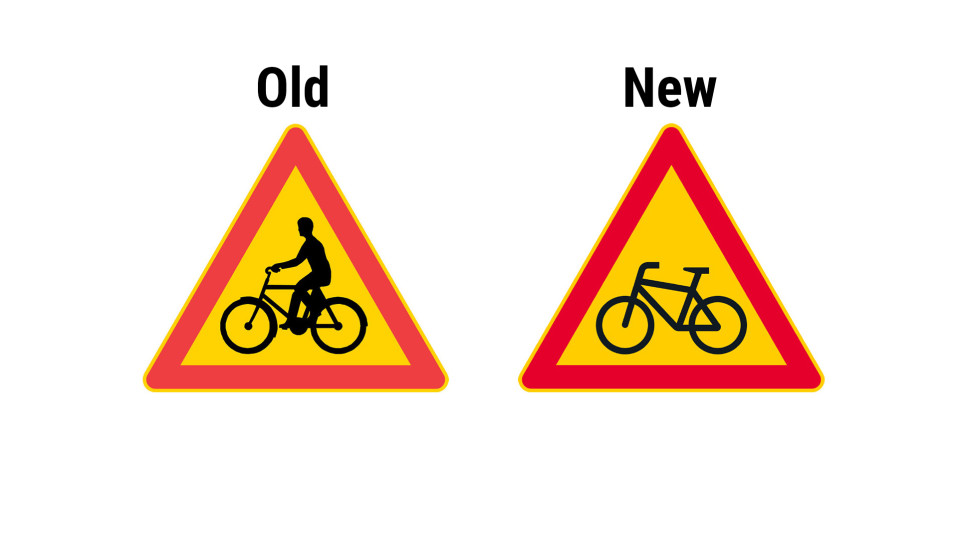Old and new warning sign for bicycles.