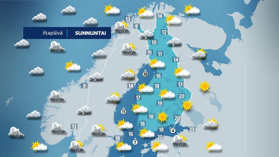 Kuvassa on sunnuntain sääkartta.