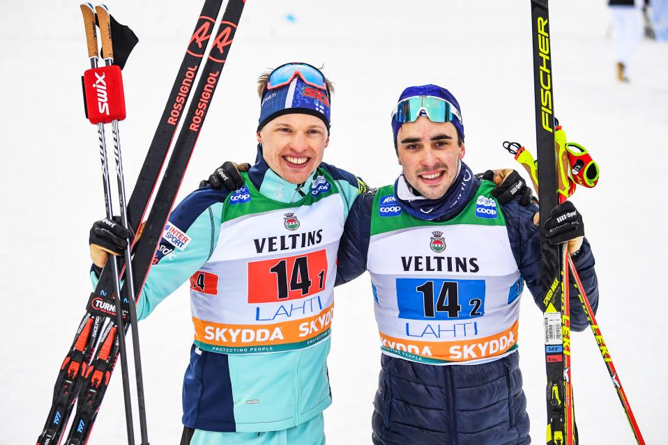 Iivo Niskanen ja Ristomatti Hakola hiihtivät kolmanneksi Lahden maailmancupin parisprintissä viime helmikuussa. Palkintosijoitus oli Hakolalle uran ensimmäinen maailmancupissa.