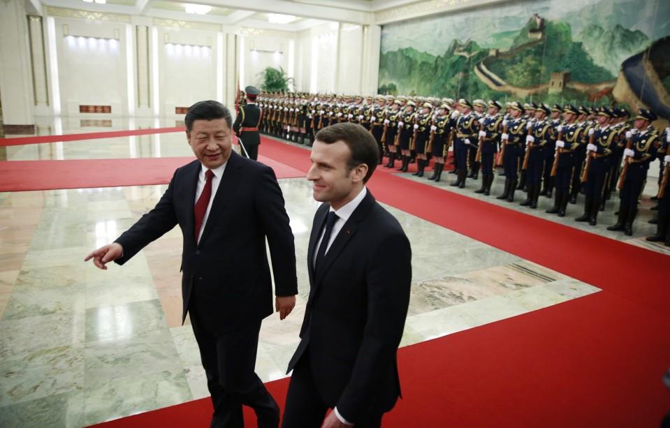 Kiinan presidentti Xi Jinping vastaanotti Ranskan presidentin Emmanuel Macronin Pekingissä tammikuussa 2018.