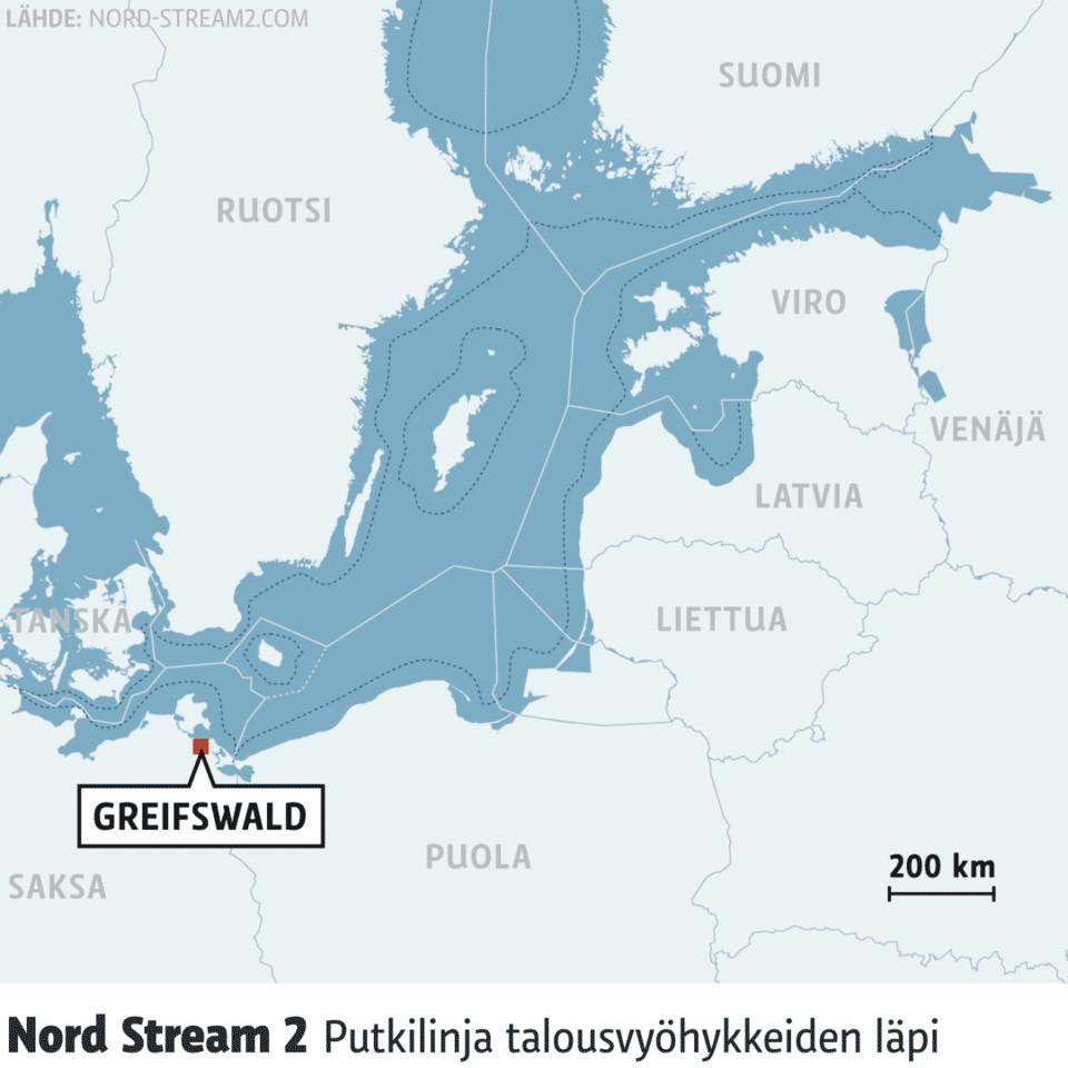 Kartta-animaatio Nord Stream 2 -kaasuputken reitistä.