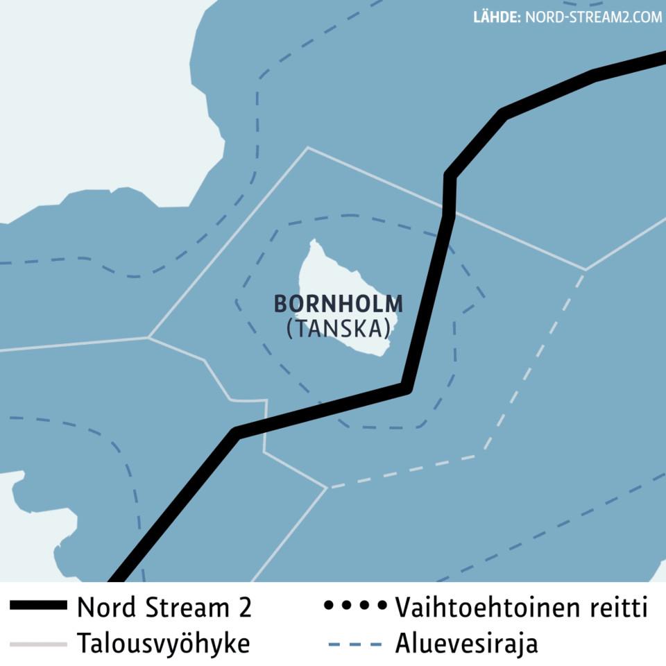 Kartta-animaatio Nord Stream 2 -kaasuputken vaihtoehtoisesta reitistä Bornholmin saaren kohdalla.