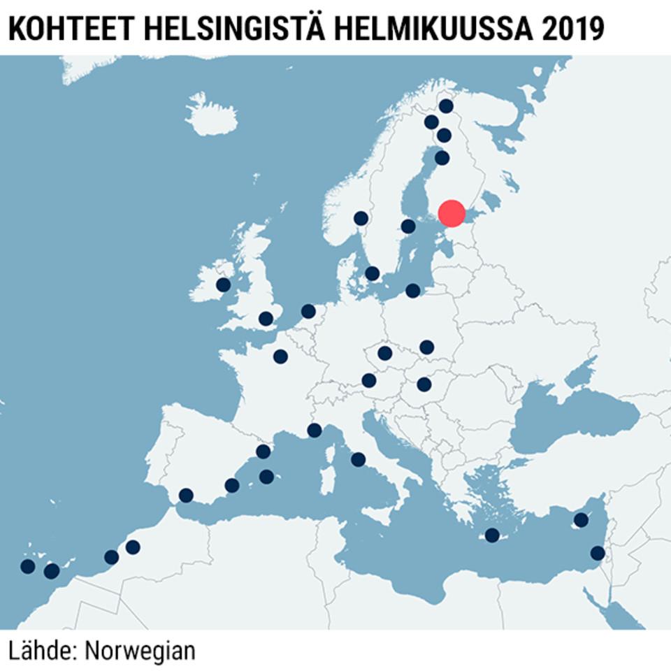 Grafiikka-animaatio, jossa näytetään kuinka monta suoraa lentoa Norwegian lentää Helsingistä helmikuussa 2019