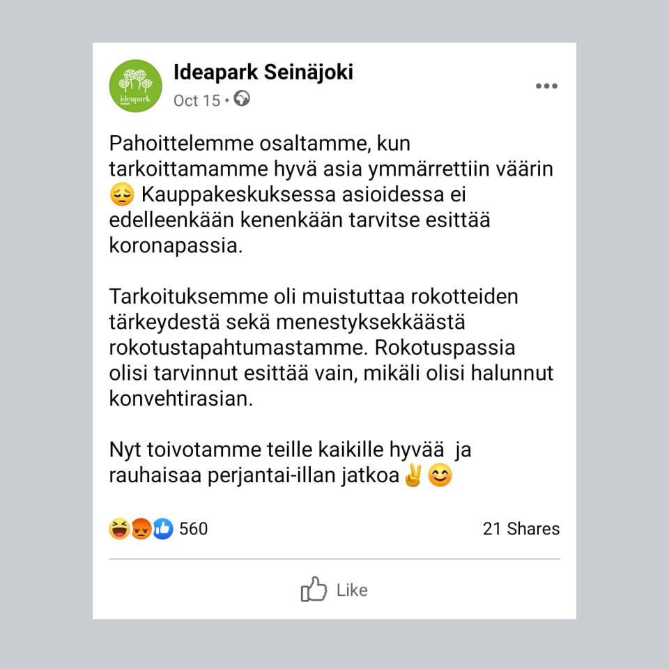 Kuvakaappaus Ideapark Seinäjoen Facebook postauksesta.